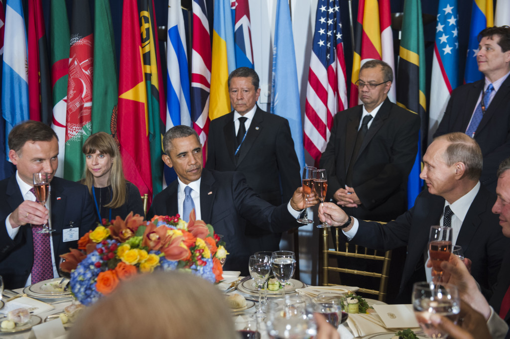 Barack Obama and Vladimir Putin at the leaders lunch hosted by Ban Ki-moon (UN Photo)