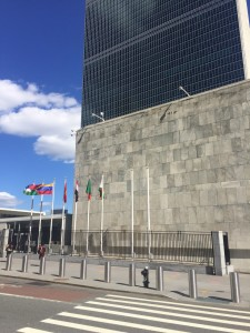 Flag poles in place for raising of Holy See and Palestine flags in front of UNHQ in New York.