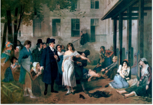 "Philippe Pinel, often refferred to as ""father of modern psychiatry"" releasing people from their chains at the Salpêtrière Asylum, Paris, 1795 by Tony Robert-Fleury"