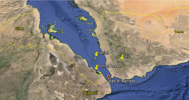 Bab al-Mandab strait separates the Arabian Peninsula from the Horn of Africa and links the Red Sea to the Gulf of Aden and the Indian Ocean