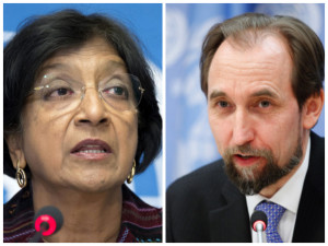 Navi Pillay (l) who was replaced as high commissioner for human rights by Zeid Husien
