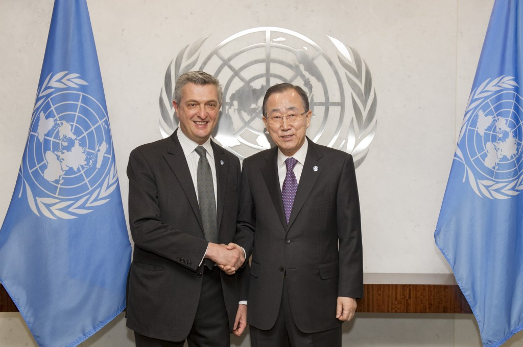 Filippo Grandi with Secretary-General Ban Ki-moon (UN Photo).